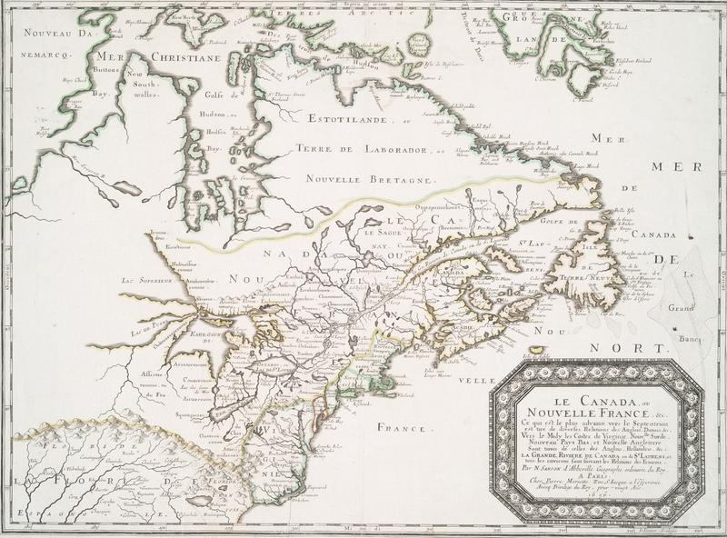 """A map of """"New France"""" drawn in 1656"""