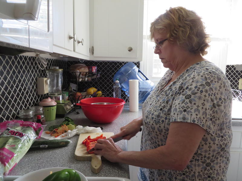 Linda Kolich washes all produce with bottled water.