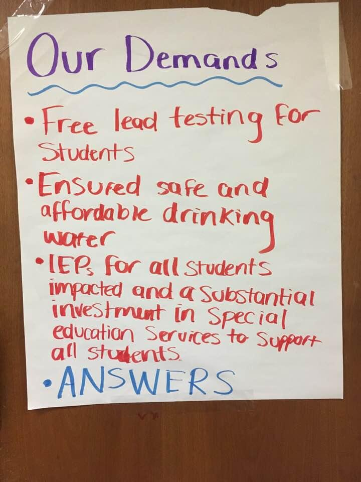 A list of student demands taped to the door of Wednesday Freedom School.