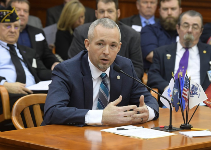 State Representative Jason Wentworth (R) testifying before the House Military and Veterans Affairs Committee in February.