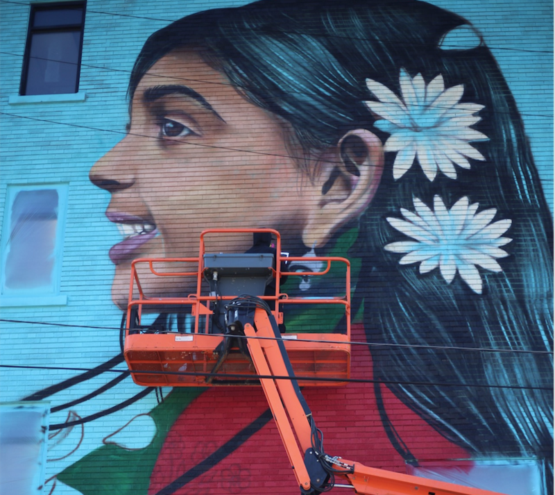 A new mural on the border of Detroit and Hamtramck, also known as Banglatown.