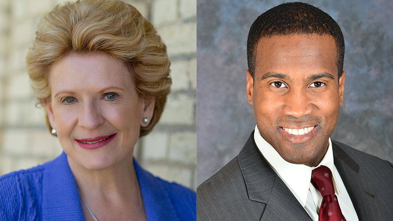 Democratic Senator Debbie Stabenow and Republican challenger John James
