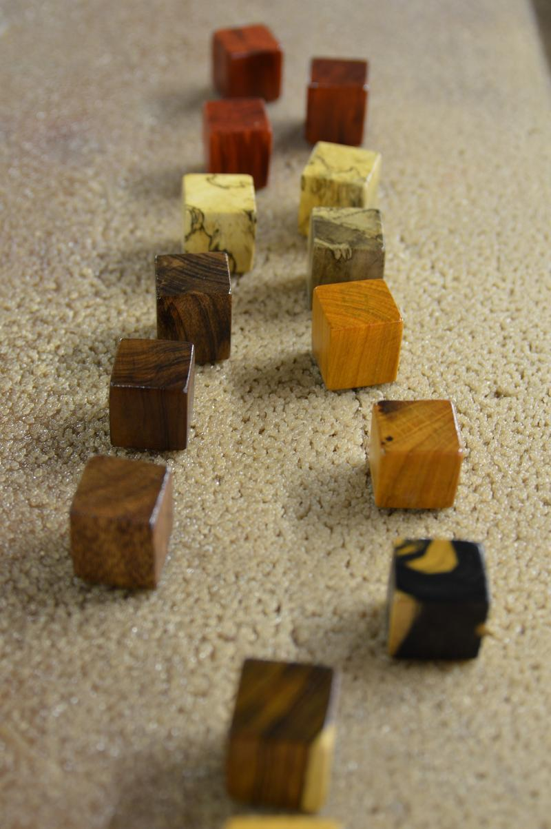 Six-sided dice blanks waiting to be finished.