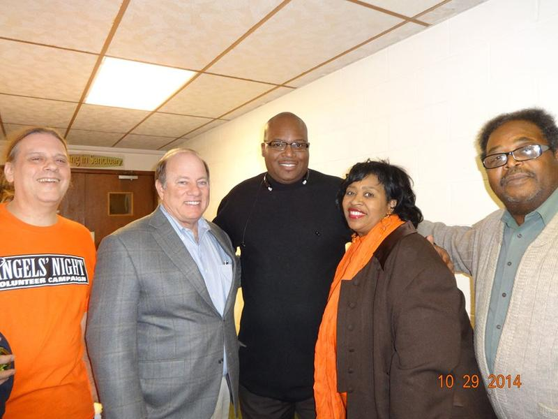 Mayor Duggan and city council president Brenda Jones visit the Angels' Night patrol in MorningSide.