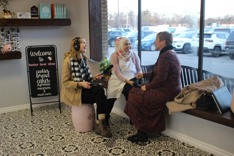 Cynthia Canty and Lindsey Scullen recording with Amanda Saab at her bakery
