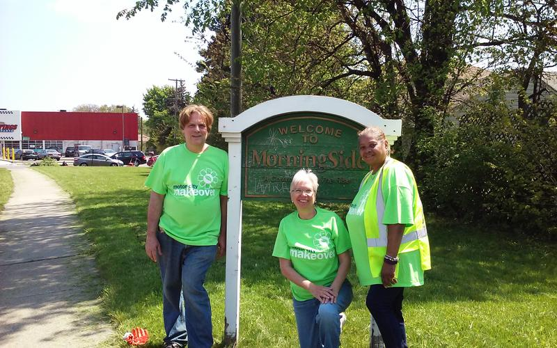 MorningSide residents Scotty Boman, Susan Newell, and past MorningSide neighborhood association president Zelda Anderson attend a neighborhood cleanup with Motor City Makeover.