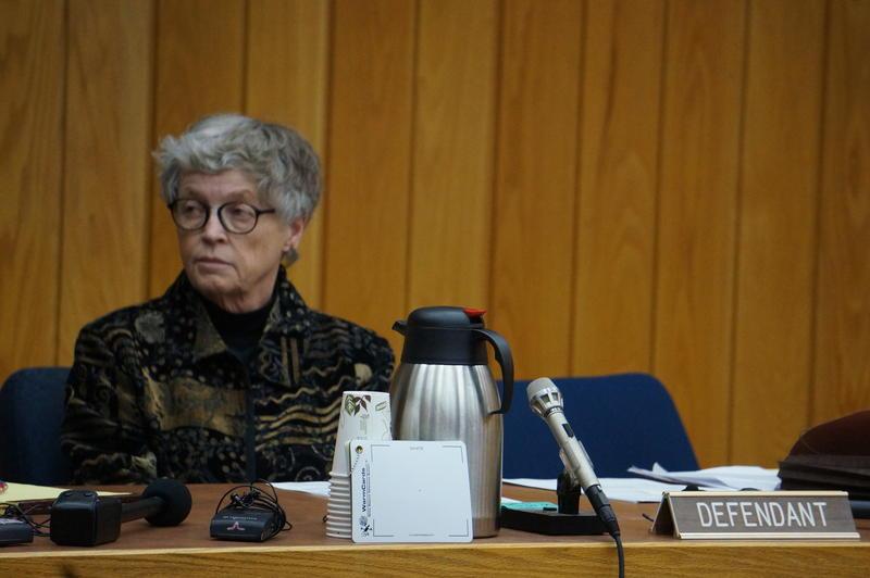 Lou Anna Simon in Eaton County court Monday.