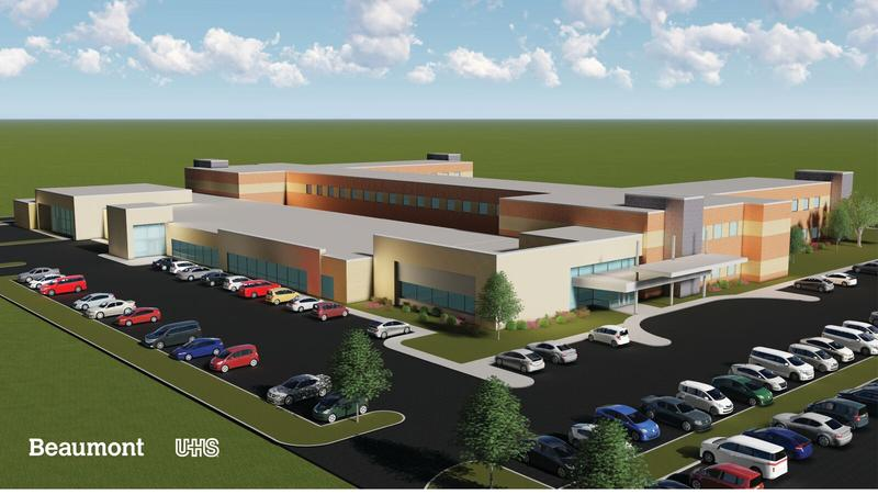 An artist's rendering of the planned Beaumont/UHS mental health hospital.
