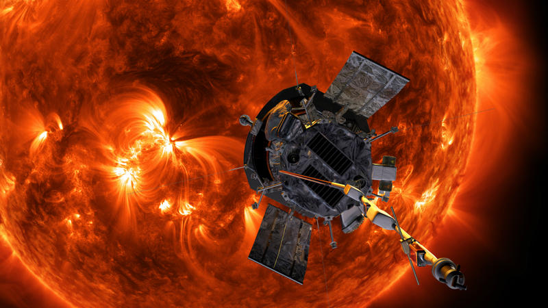 An illustration of the Parker Solar Probe heading toward the Sun.