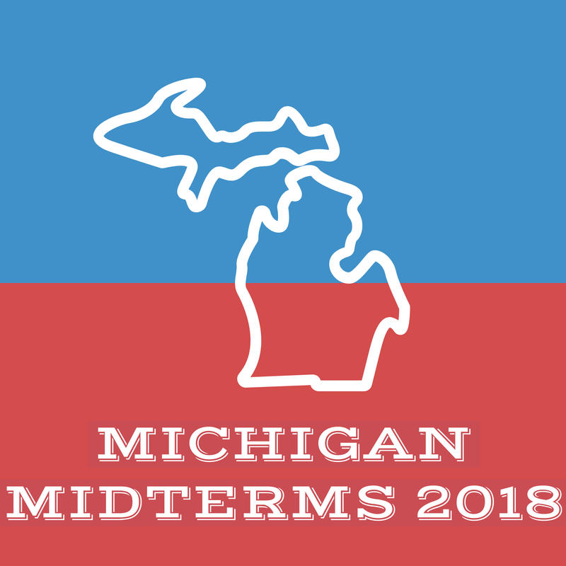 Graphic of the outline of the state of Michigan on a red and blue background with the text