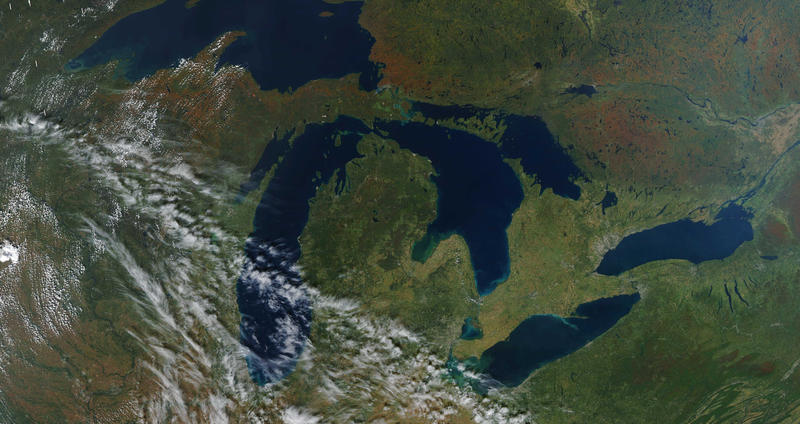 A satellite photo of the Great Lakes