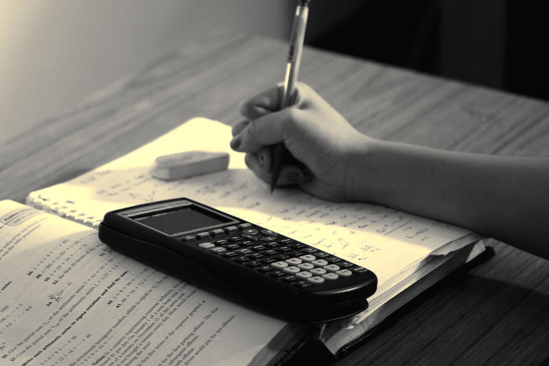 Person studying math with a notebook and a calculator.