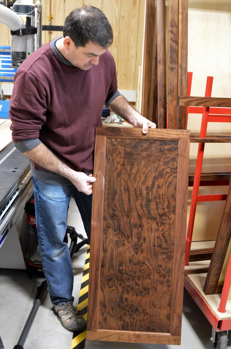 Zaret uses North American hardwood almost exclusively. He looks for wood grain patterns that capture the eye.
