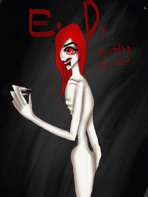 Art illustrating the experience of having an eating disorder