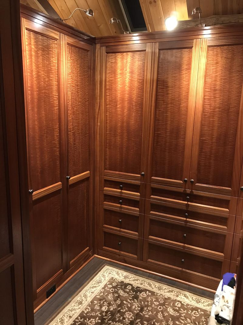 A walk-in closet designed and built by David Zaret.