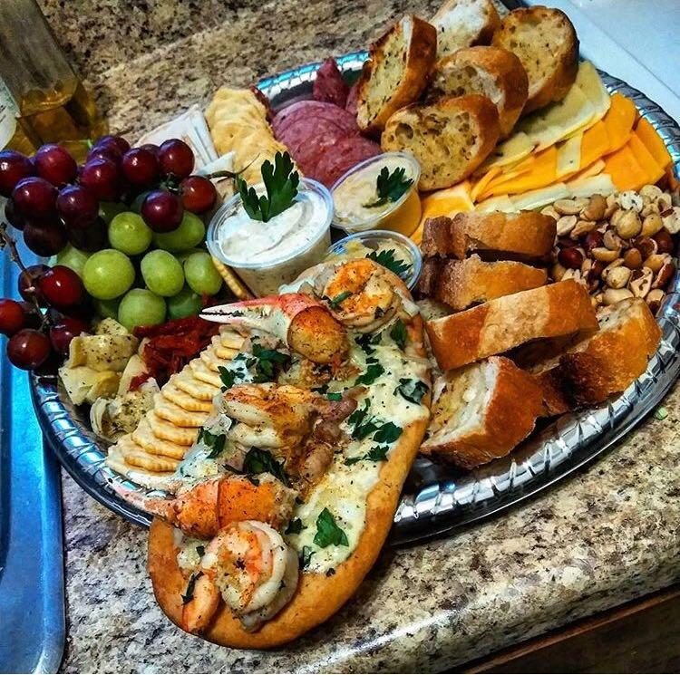 A platter of various foods