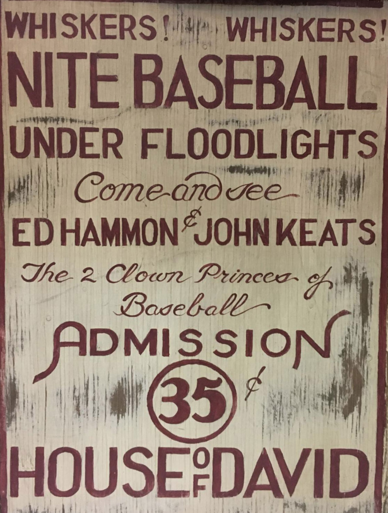 A poster advertising a House of David baseball game