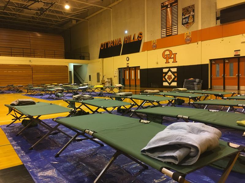 As of Friday, beds were still available at a Red Cross shelter at Ottawa Hills High School in Grand Rapids