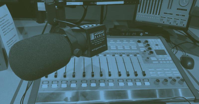 Michigan Radio studio and mic