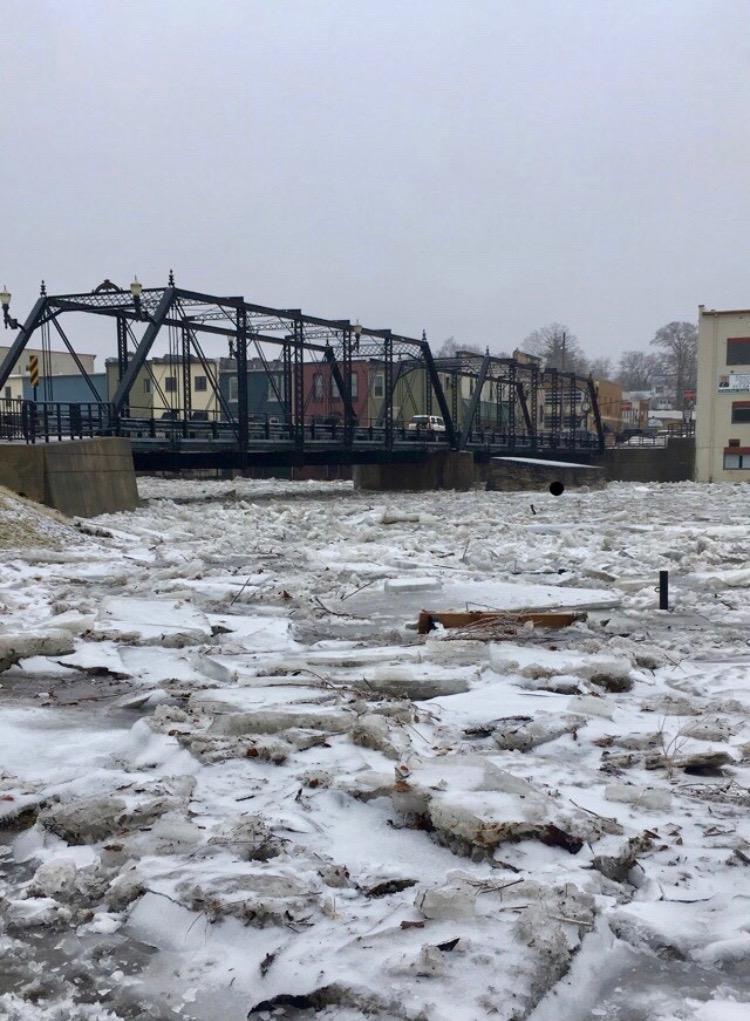 Bridge and frozen river in Portland, MI