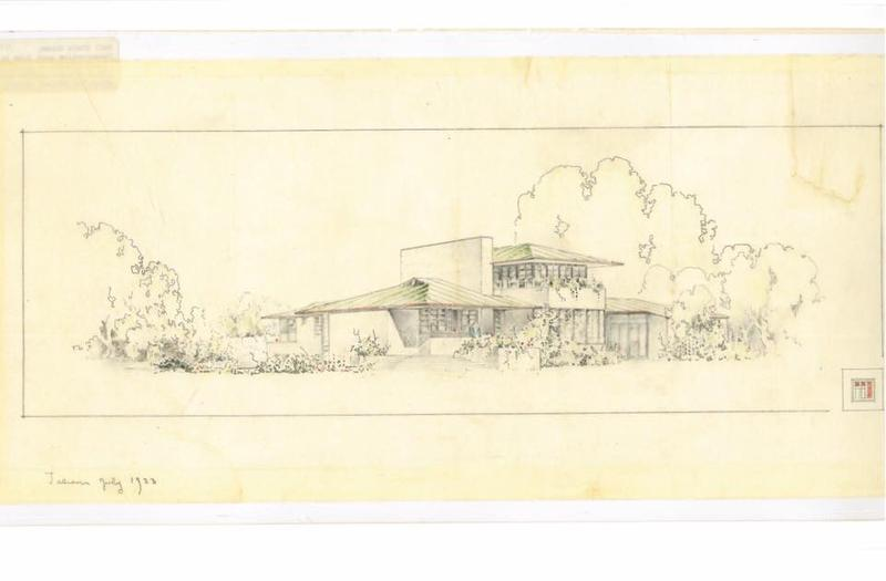 architectural drawing of mid century modern home