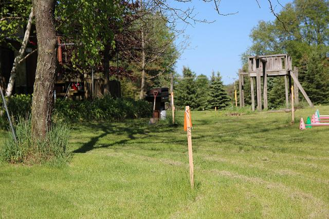 The orange stake marks the site of the new pipeline going through this homeowner's land. Most homeowners along the pipeline have a 60ft. easement on their land. The easement gives Enbridge the right to build a second pipeline.