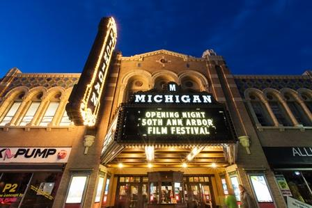 Opening night marquee at the Michigan Theater in Ann Arbor