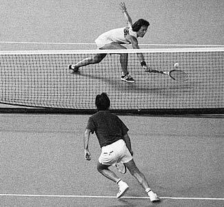 "Billie Jean King playing Bobbie Riggs in the 1973 ""Battle of the Sexes"""