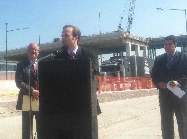 Lieutenant Governor Brian Calley at the truck road opening Tuesday.