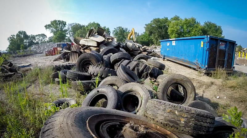 Dan Nally estimates about 300 old tires were found and recycled at the site where the new power plant will be located.