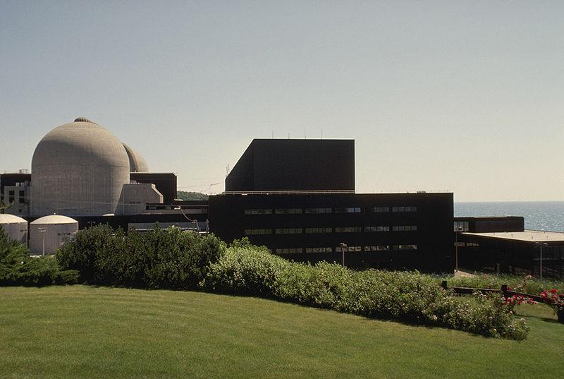 Exterior of the Donald C. Cook nuclear plant, located north of Bridgman, Michigan. Image is looking towards Unit 1.