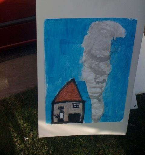 One of the paintings made at the outdoor art studio in Dexter's Huron Farms neighborhood