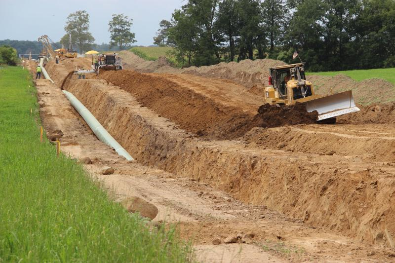 The pipeline is covered shortly after it's installed.