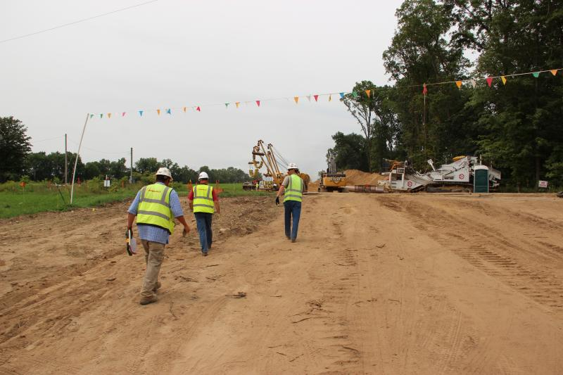 Two construction crews are working on the pipeline in Michigan.