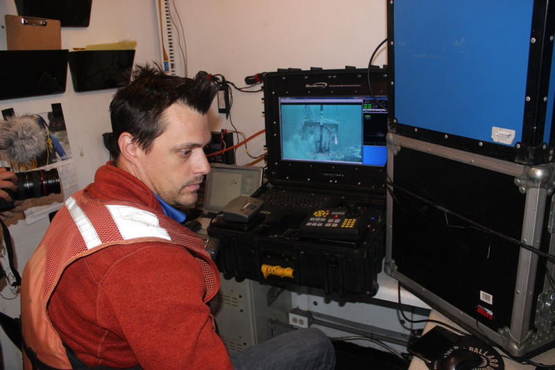 Chris Bauer, project manager for Ballard Marine Construction, monitors their anchor work.