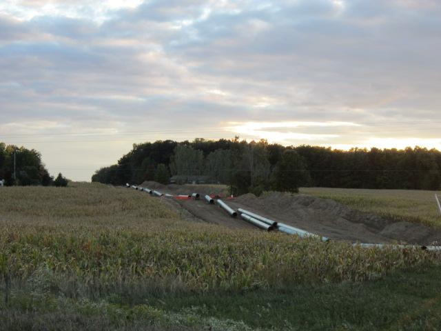 Sections of Enbridge's new pipeline ready to be installed.