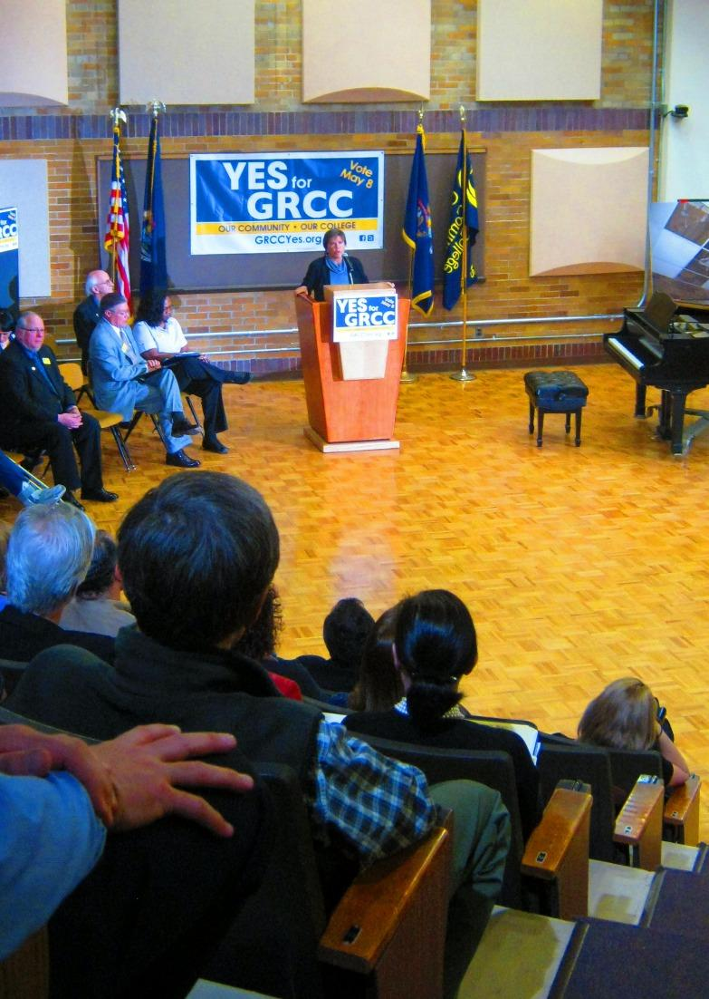 Kent County Commission Chair Sandi Frost Parrish endorses the GRCC millage at the kick off campaign Wednesday morning.