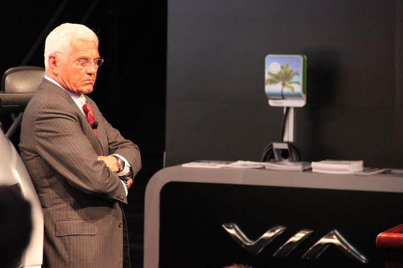 Bob Lutz at the VIA Truck press conference.