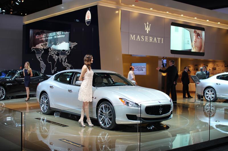 Posing by the Maseratis.