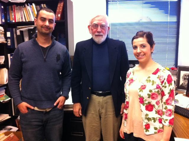 Student Ridha Al-Wishah, professor Ron Stockton, and student Maryann Rafka