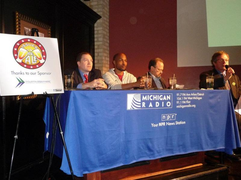 Jack Lessenberry (right) and the panelists at the Issues & Ale event in Flint.