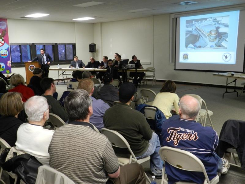 A large crowd turned out last night for a public meeting on a proposed Lansing casino