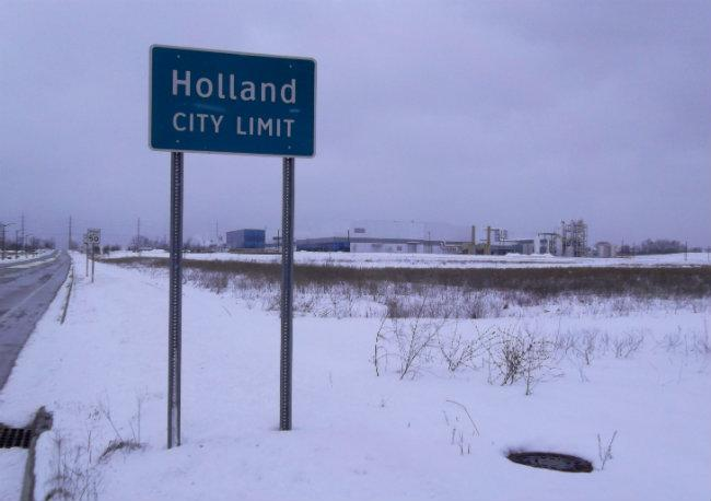 Holland expanded its city limits by about 100 feet for the LG Chem plant.