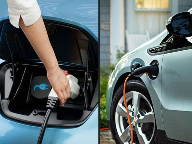 The Nissan Leaf plug (left) and the Chevy Volt plug (right).