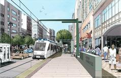 An artist's rendering of a light rail station in Detroit.