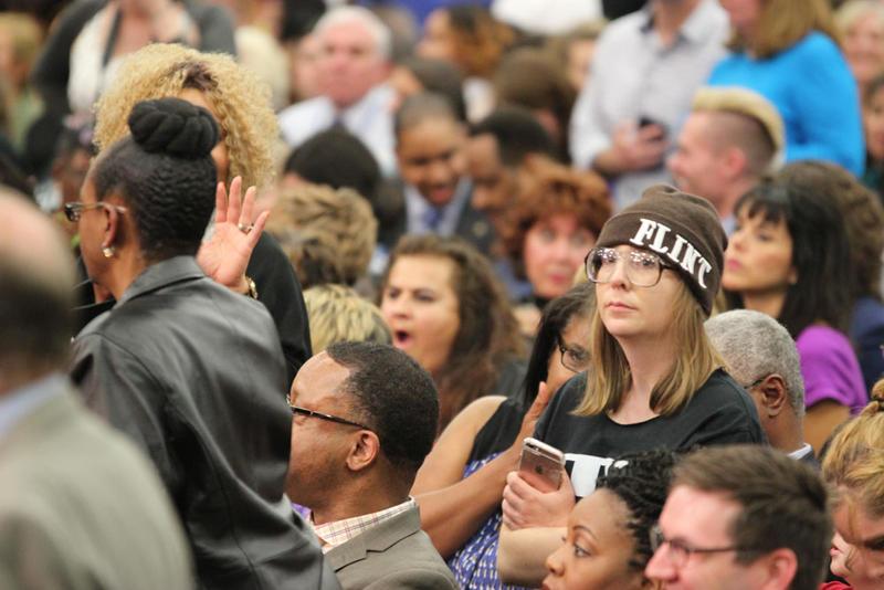 Crowd waits to hear President Obama speak in Flint, Michigan.