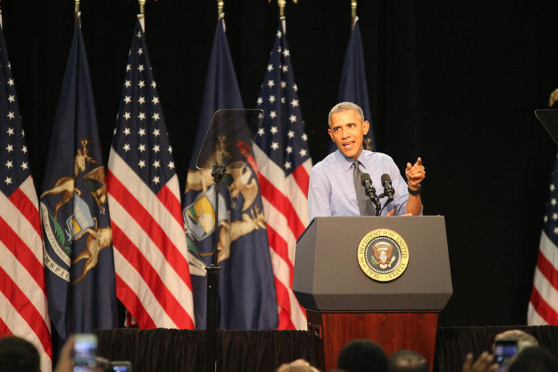 President Obama speaking in Flint, Michigan on May 4, 2016.