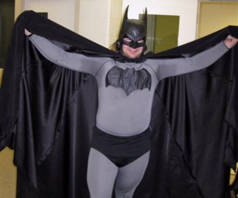 Mark Williams as Batman. The infamous suit went to the highest bidder.