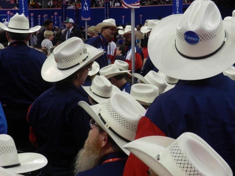 Texas delegates go with cowboy hats and Texas state flag shirts at the Republican National Convention in Tampa, FL.