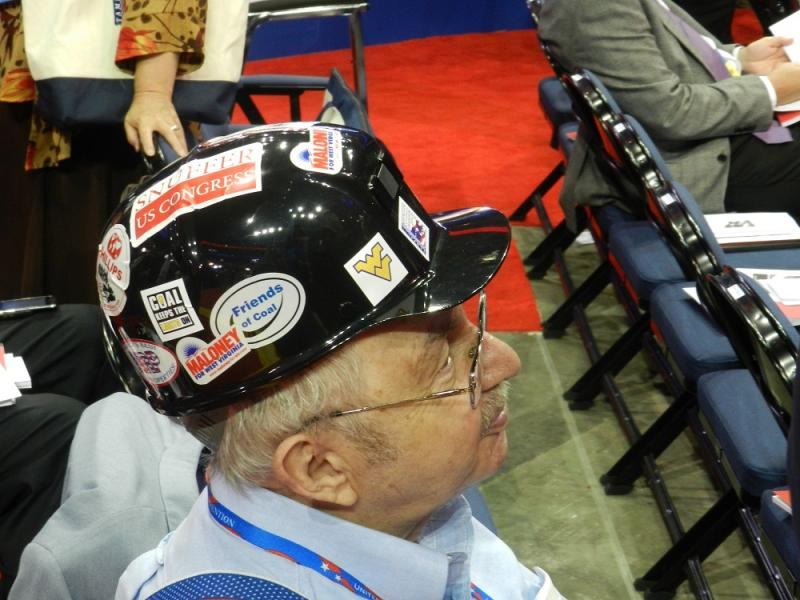 West Virginia delegate wears a miners helmet at the Republican National Convention in Tampa, Florida.